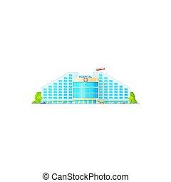 Modern city hospital isolated building exterior