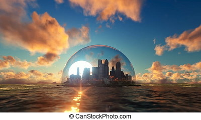 Modern city in a glass dome on ocean at sunset