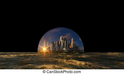 Modern city in a glass dome on ocean, timelapse sunrise, against black