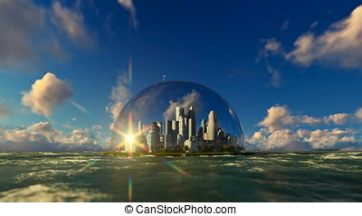 Modern city in a glass dome on ocean, timelapse sunrise,...