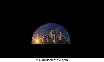 Modern city in a glass dome, timelapse sunrise, against black