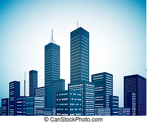 Modern city landscape background - Urban vector background...