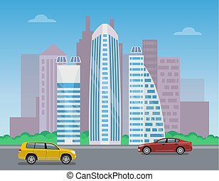 Modern City Landscape, Color Vector Illustration