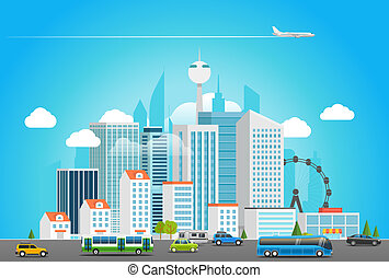 Modern city life. Cityscape with transport