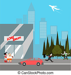 modern city life flat style vector