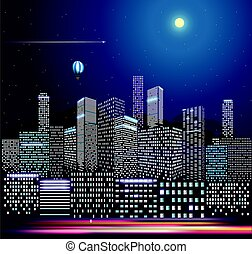 Modern city life in the night. Vector illustration. City buildings in perspective