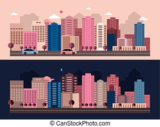 modern city life scenery in flat design