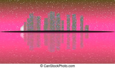 Modern City Lit by Colorful Light Effects.  Animation Concept for colorful vibrant skyline city, full moon night.