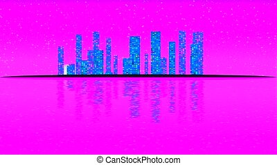 Modern City Lit by Colorful Light Effects. Animation Concept...