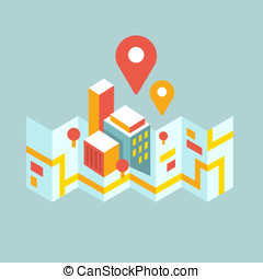 modern city map and geo signs - colorful modern city map and...