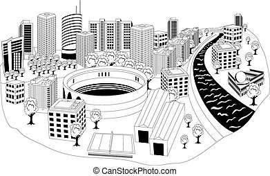 Black and white illustration of a cityscape with area