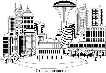 Modern city metropolis - Black and white illustration of a...