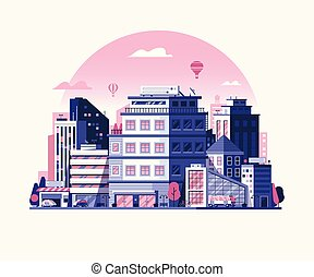 Modern City Metropolis Flat Illustration