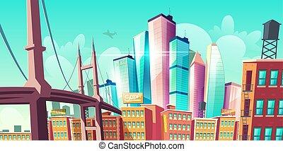 Modern city metropolis growth, street with bridge