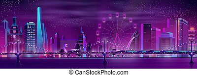 Modern city neon cartoon vector night landscape