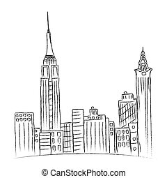 New York - Modern, city, New York, sketch, city line
