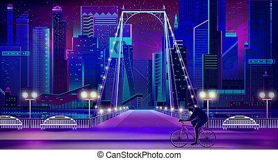 Modern city nigh embankment vector background