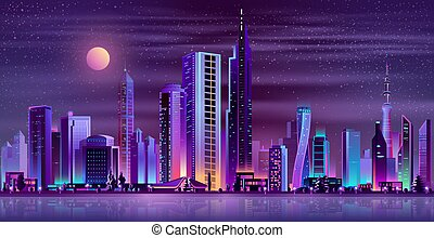 Modern city night landscape neon cartoon vector