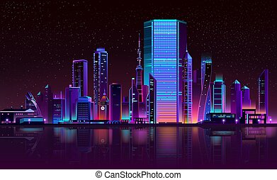 Modern city night skyline neon cartoon vector
