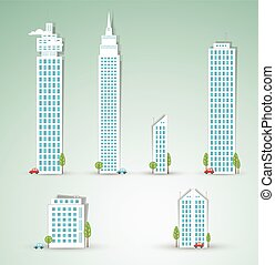 Modern city objects. Vector