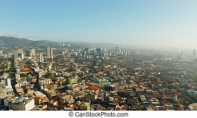 Modern city of Cebu with skyscrapers and buildings, Philippines.