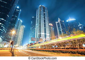 modern city of shanghai at night