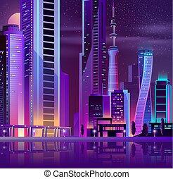 Modern city on sea island