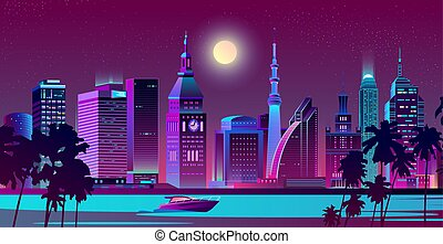 Modern city on seashore night landscape vector