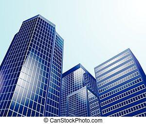 Modern city on sky background