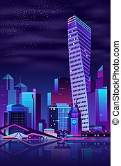 Modern city quay night landscape cartoon vector