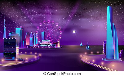 Modern city quay night landscape cartoon vector
