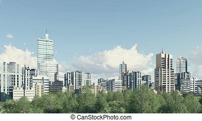 Modern city skyline and park zone panorama 4K - Panorama of...