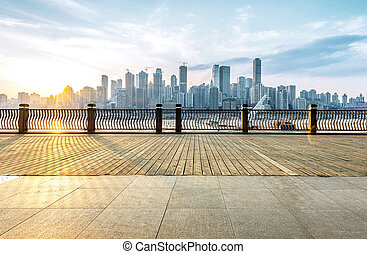 Modern city skyline - Chongqing city skyline, with wooden...