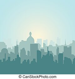 Modern city skyline silhouette. Vector illustration