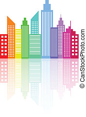 Modern City Skyline Skyscrapers With Reflection Vector...