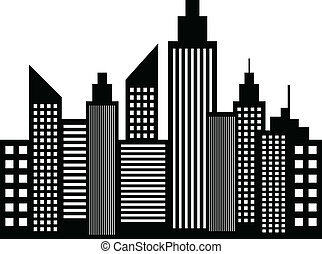 Modern City Skyscrapers Buildings Silhouettes Vector...