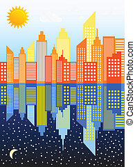 Modern City Skyscrapers Skyline Day And Night Vector...