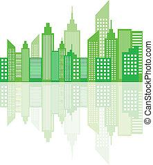 Modern City Skyscrapers Skyline - Green Modern City...
