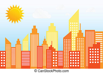 Modern City Skyscrapers Skyline