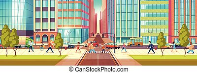 Modern city street life cartoon vector concept