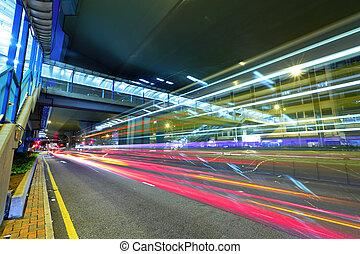 modern city traffic at night