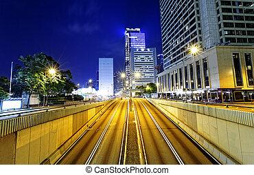 Modern city traffic night