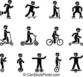 Set of pictograms representing people riding various types of bicycles, rollers, skates and modern electrical vehicles.
