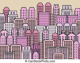 Modern city - Simple city illustration - skyscrapers and...