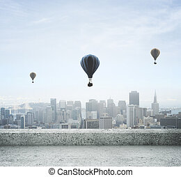modern city view from concrete roof and air balloon