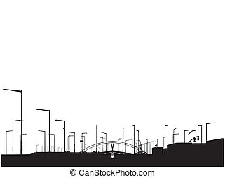 Modern City View Sihouette Vector