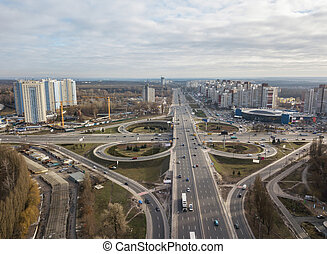 Modern city with of Odessa square and road in the form of a ...