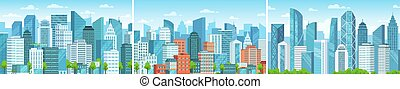 Modern cityscape. Business district skyscrapers, abstract urban panorama and city buildings vector set. Panoramic views of downtown. Architecture of megalopolis. Real estate in residential area.
