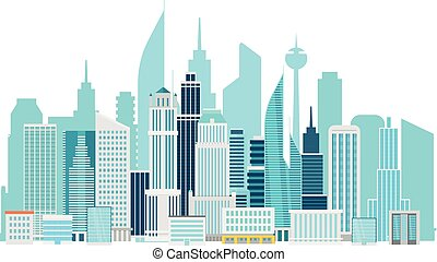 Modern cityscape downtown vector illustration. Office buildings of a city