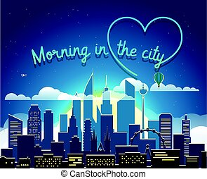 Modern cityscape in the morning vector illustartion. Morning in big city